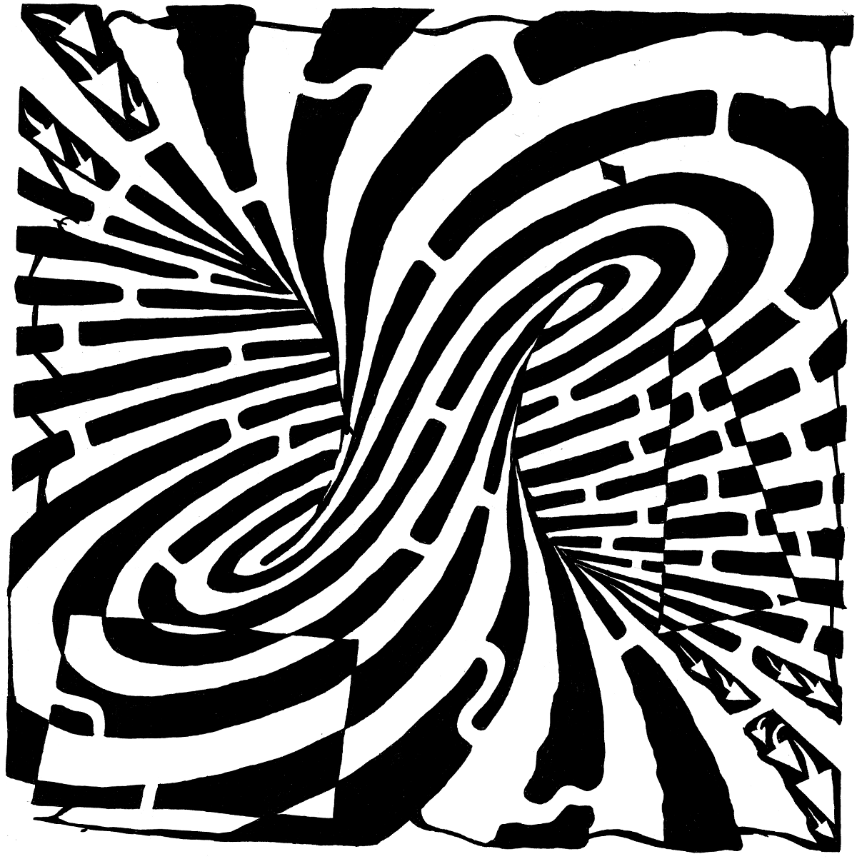 Drawn optical illusion basketball And coloring and pages free