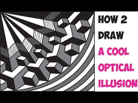 Drawn optical illusion beginner  Tutorial Cool Trick Beginners