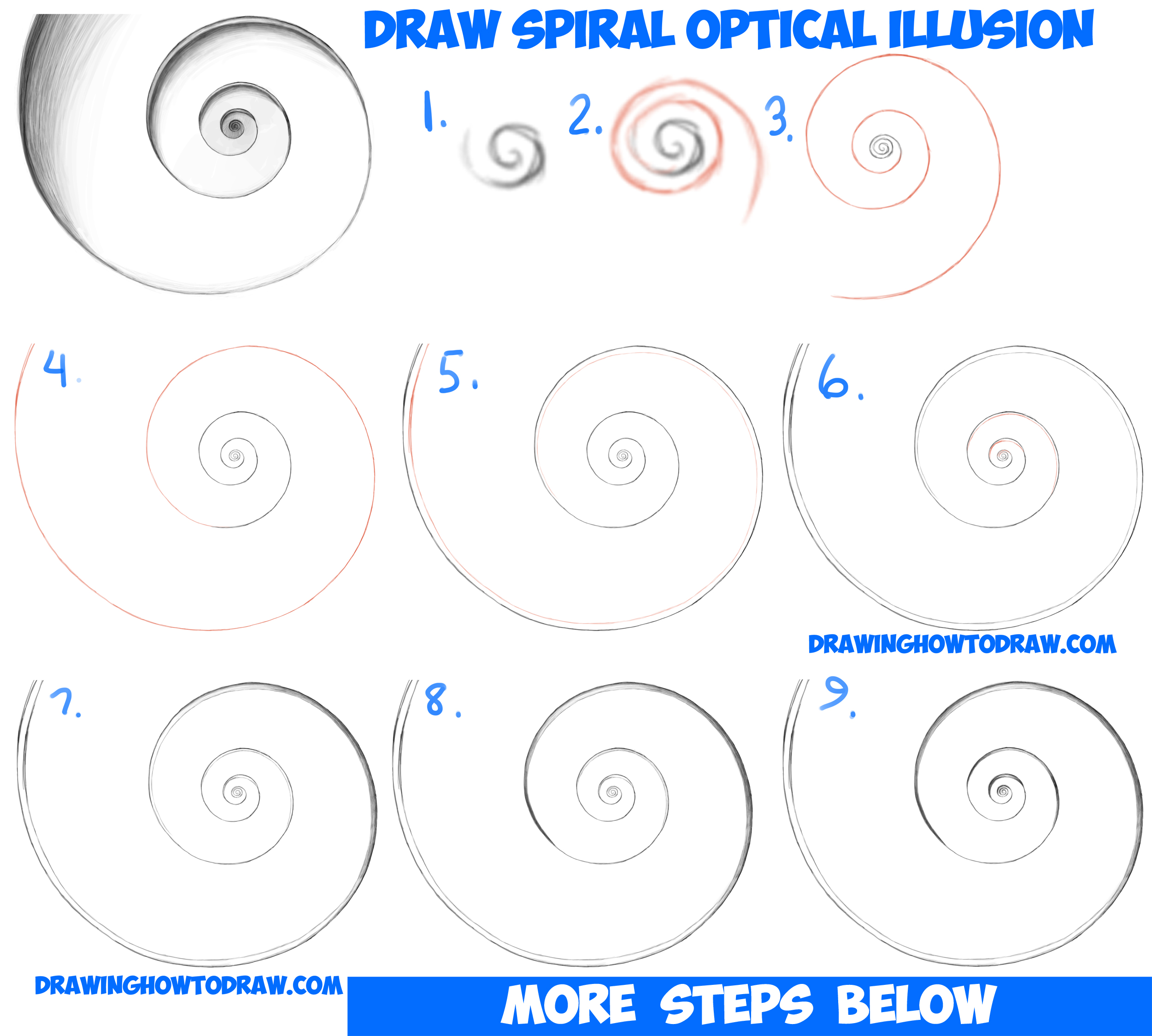Drawn optical illusion beginner For Spiral Step How Step