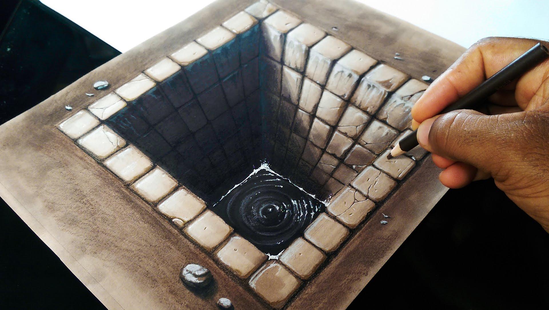 Drawn optical illusion black hole YouTube a Drawing 3D Brick