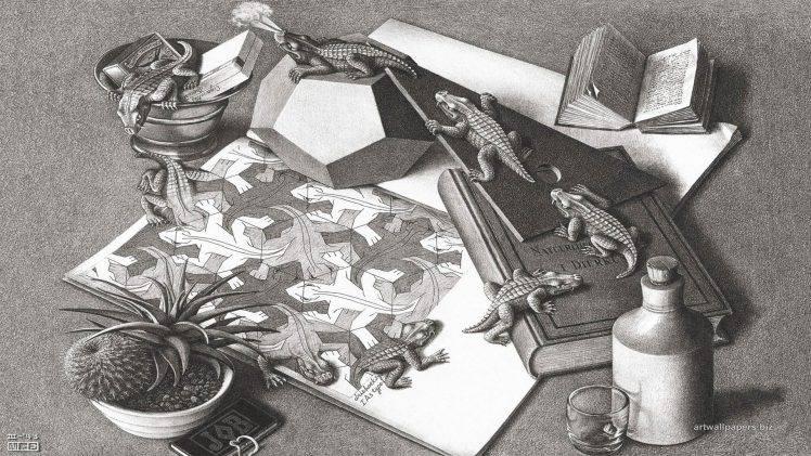 Drawn optical illusion bottle Monochrome  Escher artwork 1