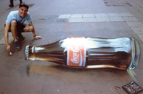 Drawn optical illusion bottle Illusion Coke Chalk Page 20