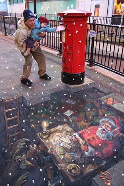 Drawn optical illusion chalk drawing Chalk 3D the of caving