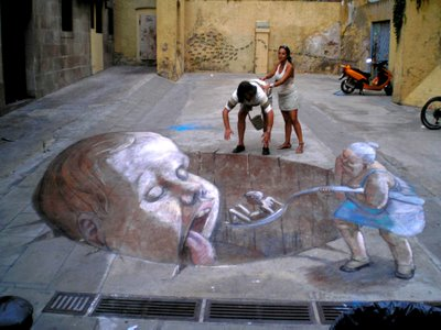 Drawn optical illusion chalk drawing Chalk 21 Drawings 3D Page