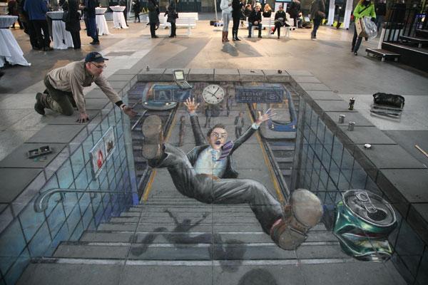 Drawn optical illusion chalk drawing Eyes Chalk was viewed to