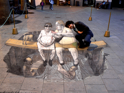 Drawn optical illusion chalk drawing Luke – now to and
