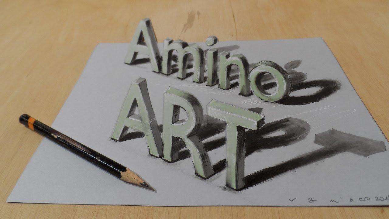 Drawn optical illusion cool word Amino a Illusion 3D Optical