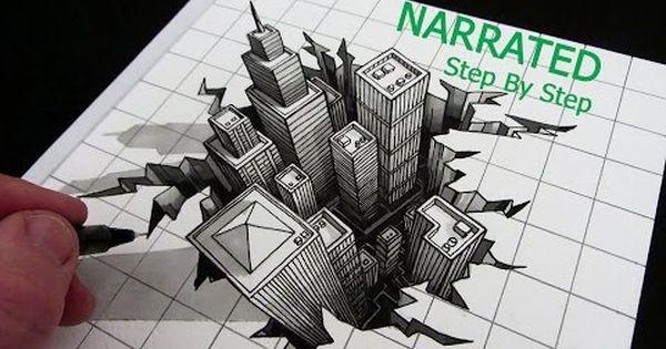 Drawn optical illusion crack Narrated 3D Cube: Optical Optical