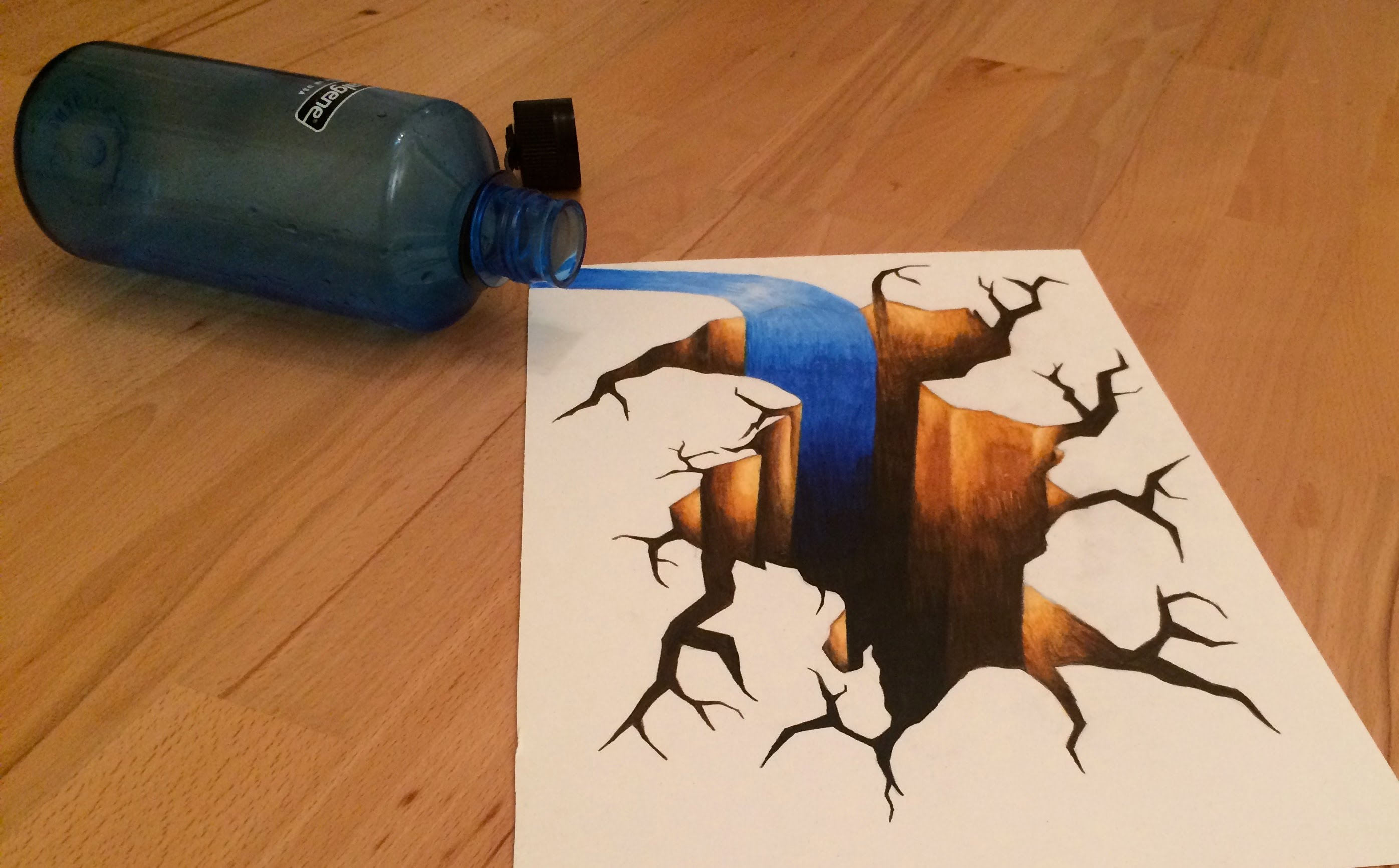 Drawn optical illusion crack Spilled hole with floor water