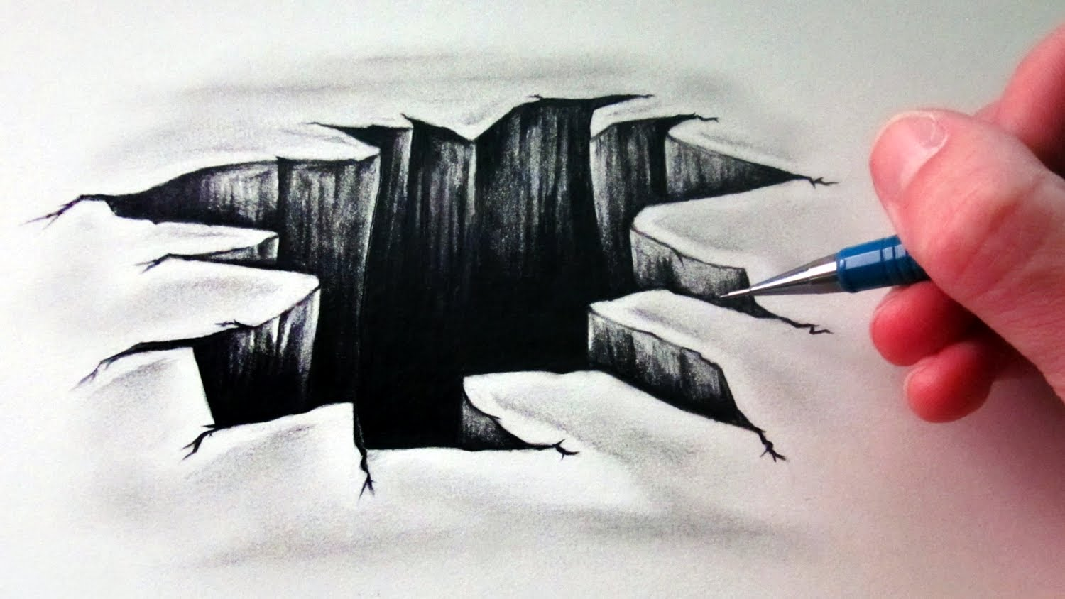 Drawn brick crack How Optical Illusion Hole to