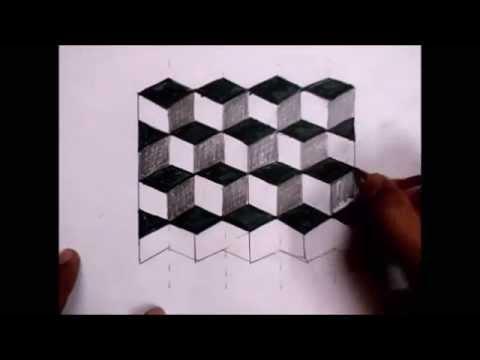 Drawn optical illusion cube (Easy)  YouTube Drawing Illusion