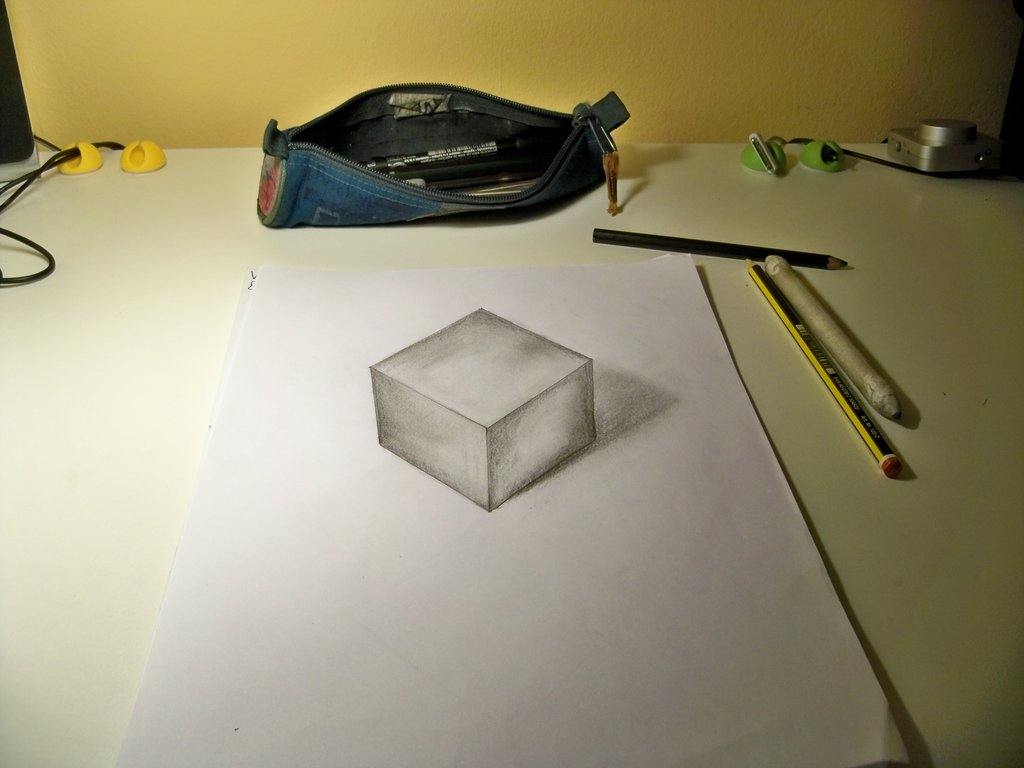 Drawn optical illusion cube 3D by drawing optical CUBE