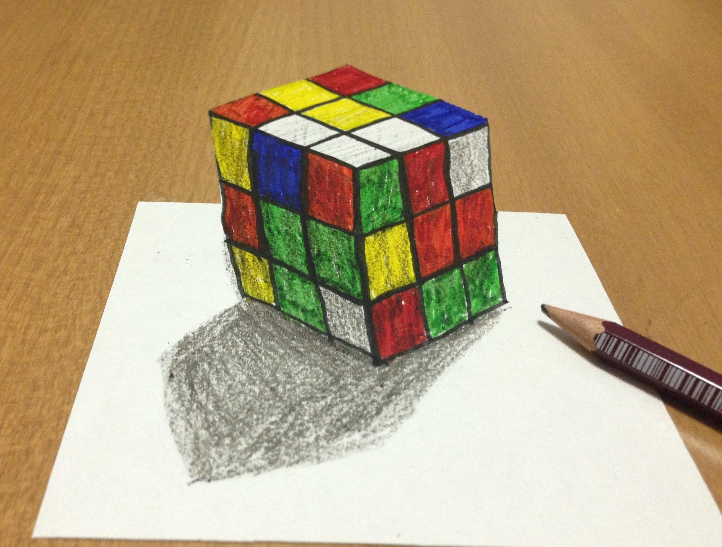 Drawn optical illusion cube Illusion Art Cube 3D Drawing