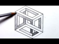 Drawn optical illusion cube Escher on an to How