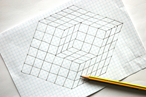 Drawn optical illusion cube We in cube light Optical