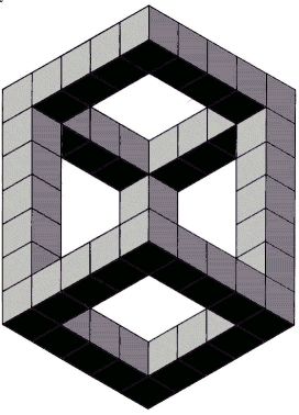 Drawn optical illusion cube Impossible on Impossible optical figures