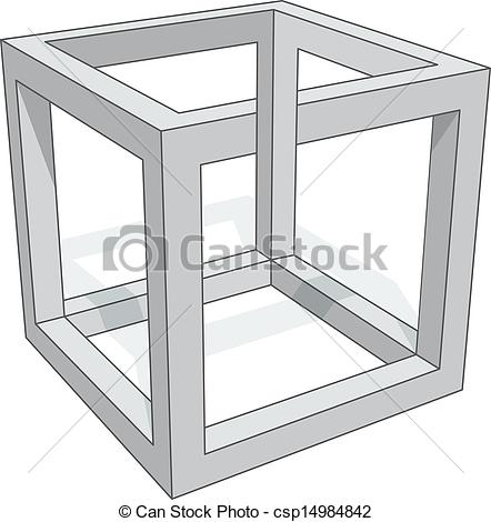 Drawn optical illusion cube Cube Vector on illusion optical