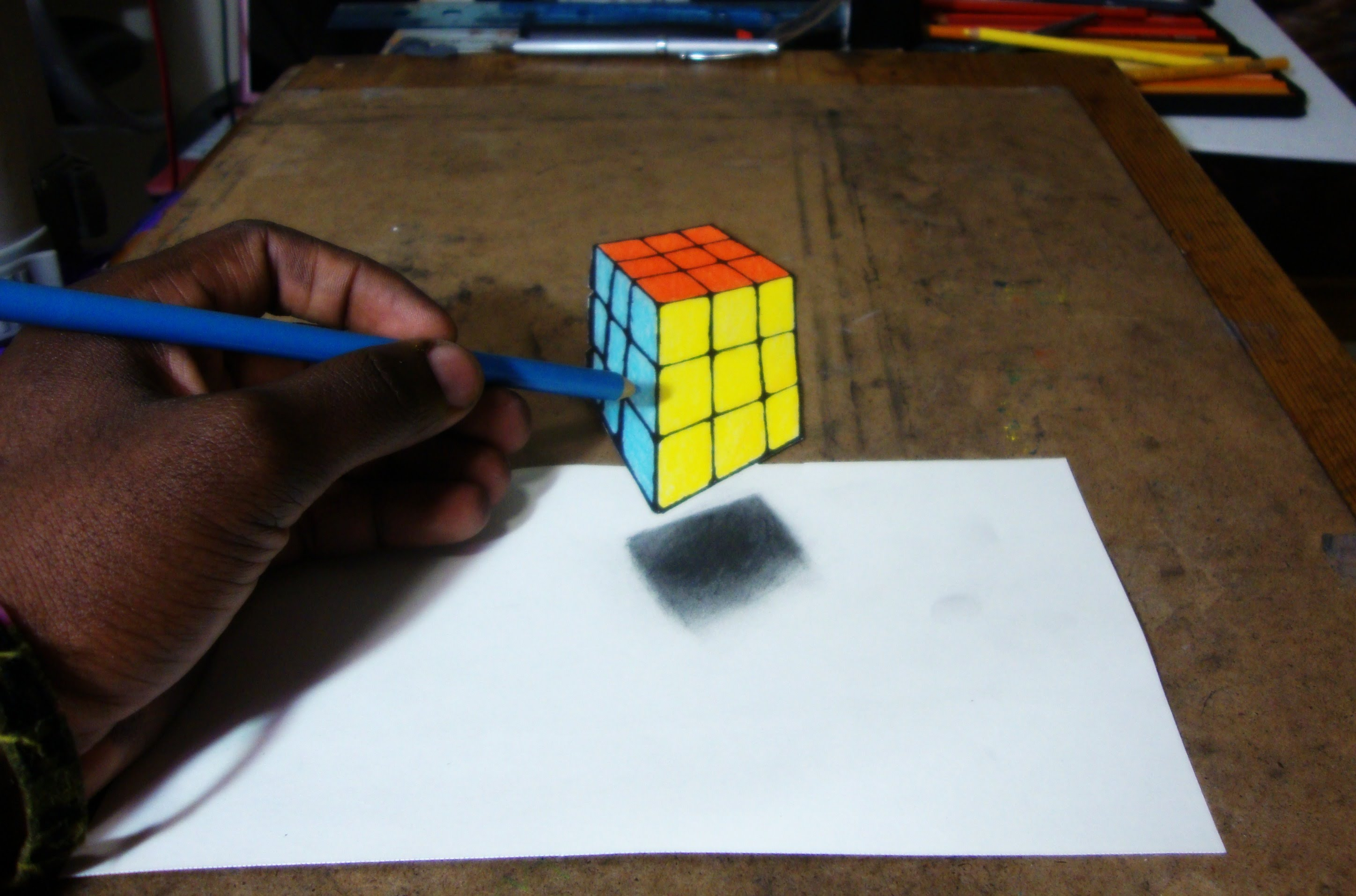 Drawn optical illusion cubic Cube 3D Illusion Rubik's 3D