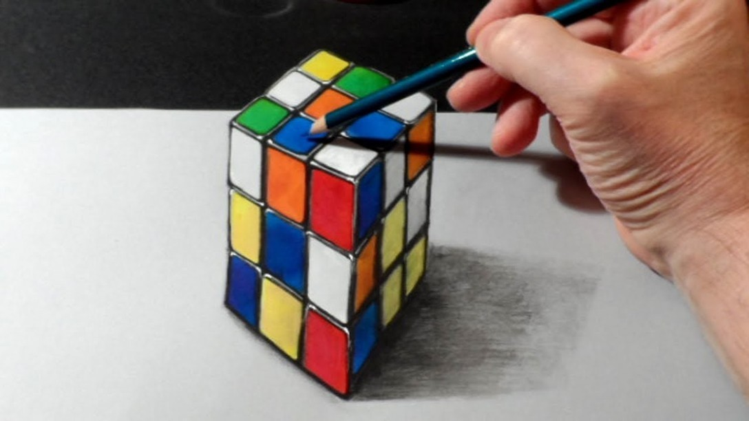 Drawn optical illusion cubic Drawing Anamorphic Rubiks Rubiks Illusion