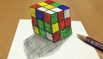Drawn optical illusion cubic Rubik's Drawing Cube Tricks 3D