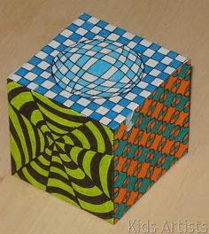 Drawn optical illusion cubic Cube  Optical cube a
