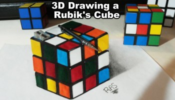 Drawn optical illusion cubic Rubik's Drawing Optical Optical a