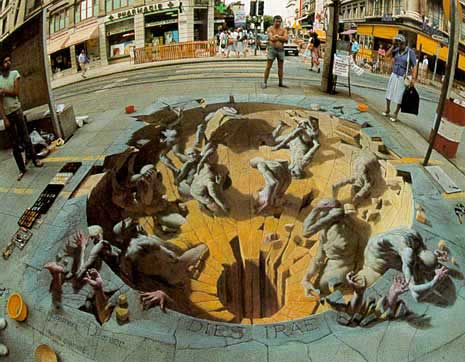 Drawn optical illusion deep :: hole ::  &