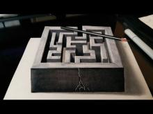 Drawn optical illusion depth drawing By 3D ideas Embedded illusions