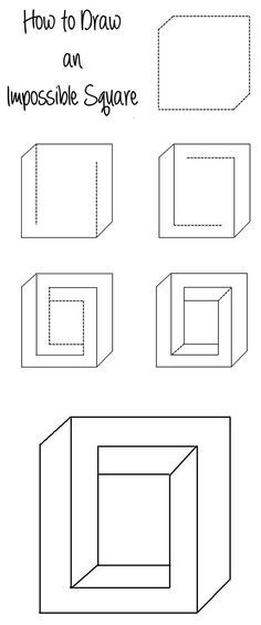 Drawn optical illusion depth drawing Pinterest Square How ideas to