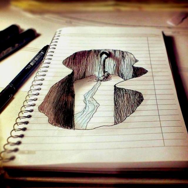 Drawn optical illusion depth drawing On grade? Amazing about Illusion