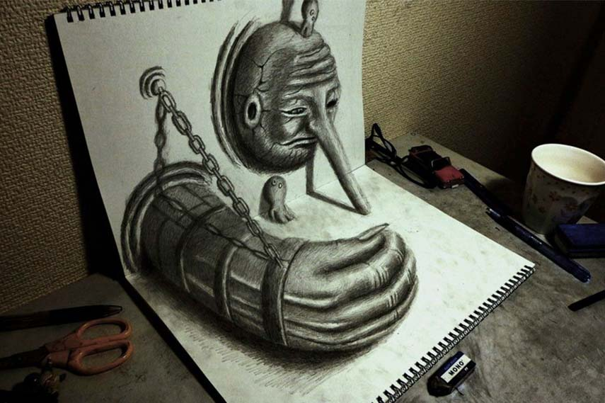 Drawn optical illusion depth drawing In page of 3D Pencil