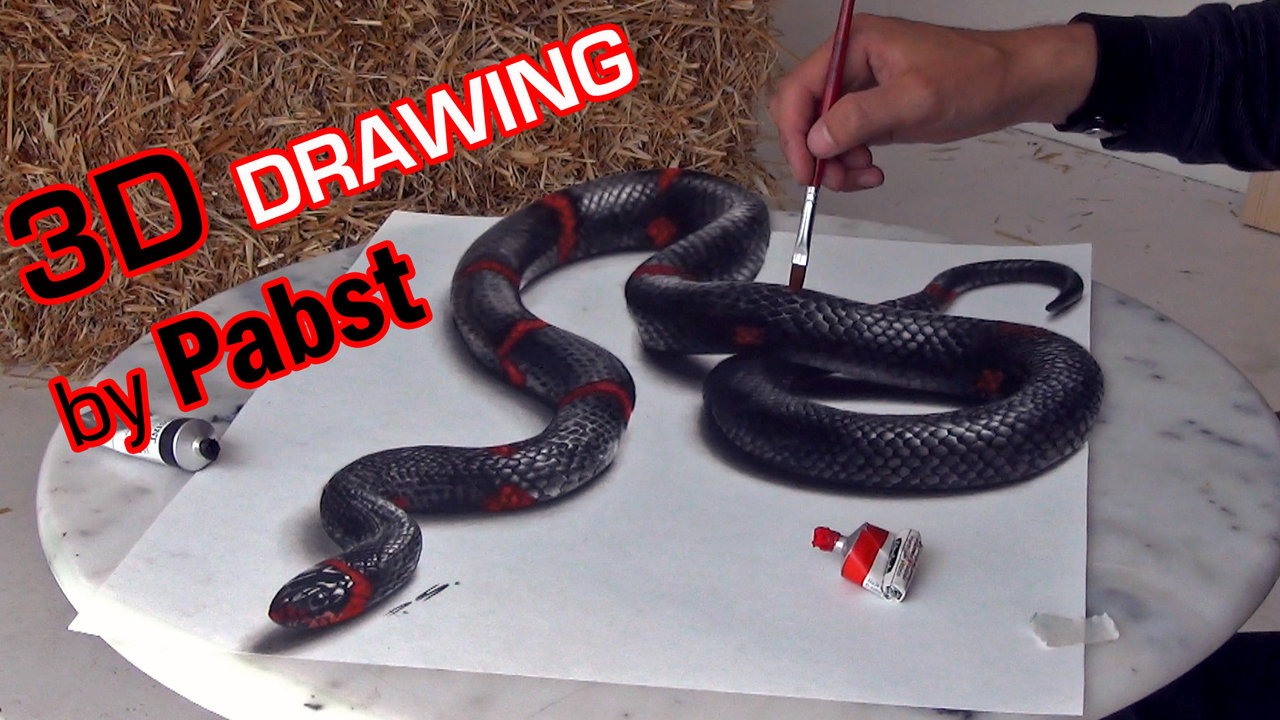 Drawn spider snake Lifelike 3D Painting 3D a