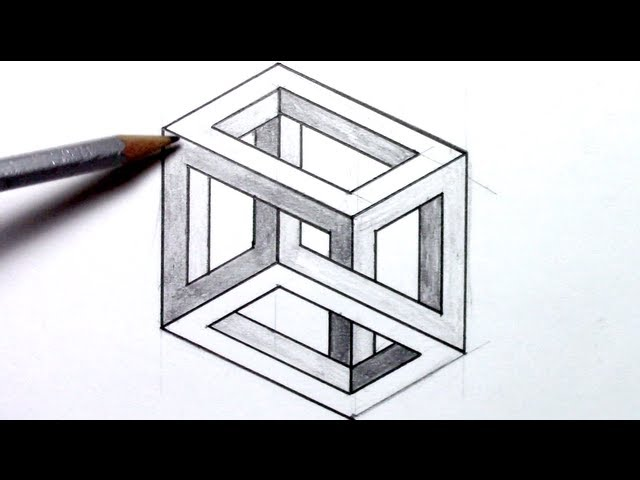Drawn optical illusion drawable Escher Horsing draw Cube How