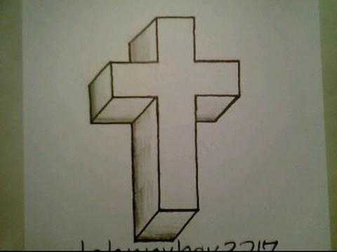 Drawn optical illusion easy draw 3D Crucifix Easy Crucifix Illusion