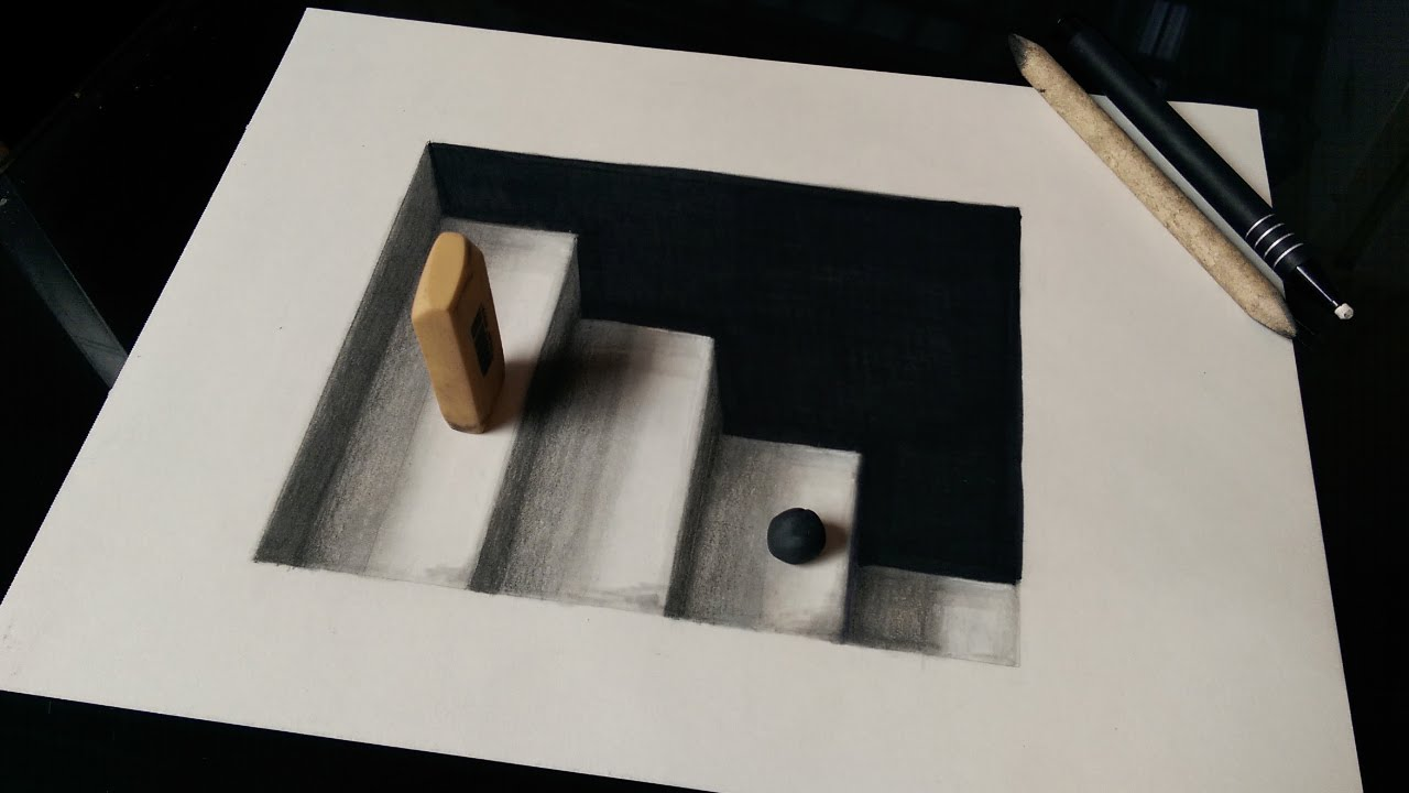 Drawn optical illusion figure drawing Ladders) (3D  YouTube Stairs