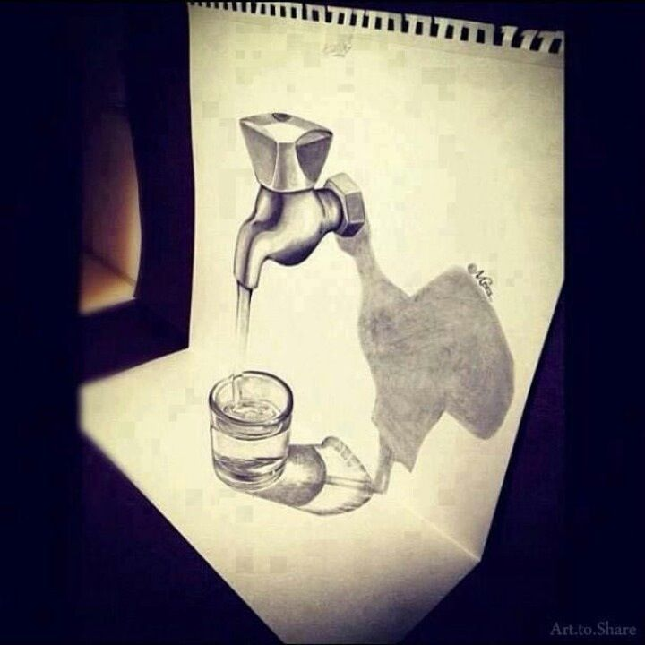 Drawn optical illusion figure drawing Draw 3d about on can