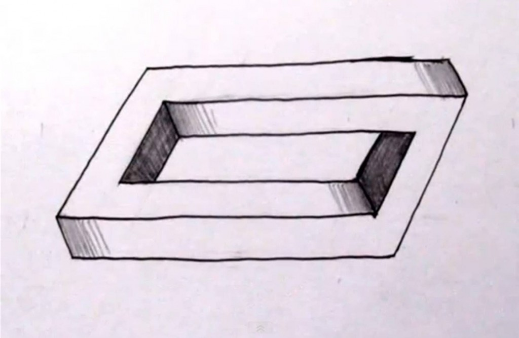 Drawn optical illusion figure drawing Other draw to Penrose &
