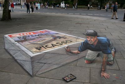 Drawn optical illusion floor Page 3D Chalk Of 20