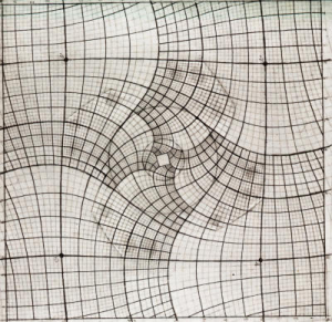 Drawn optical illusion graph paper Math Effect with Droste 3D