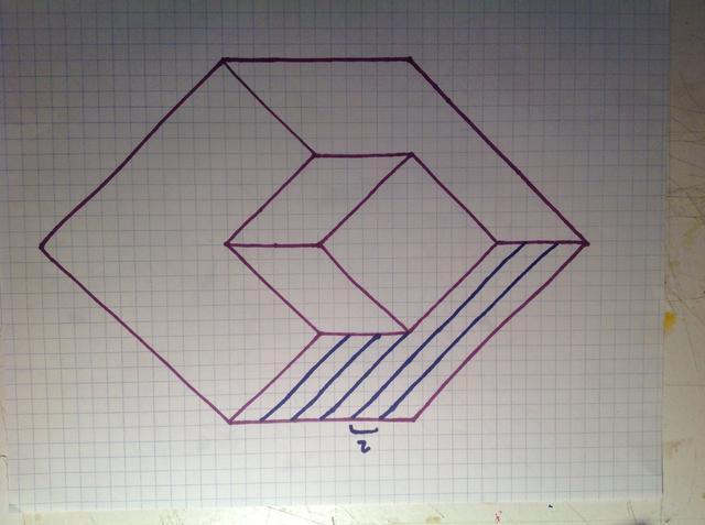 Drawn optical illusion graph paper Of Optical one start Cube