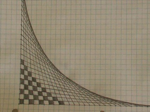 Drawn optical illusion graph paper Illusion line optical line only