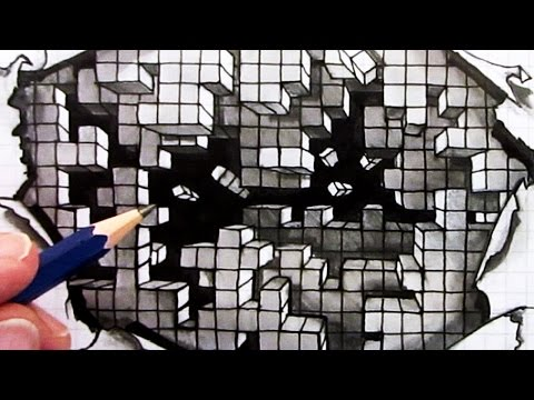 Drawn optical illusion graph paper How Cubes YouTube Illusion: Hole