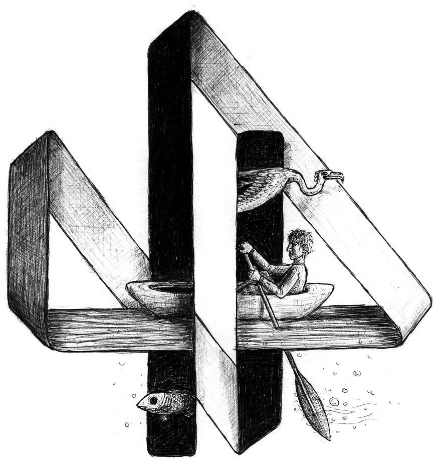 Drawn optical illusion graphic Draw Panda I write Bored