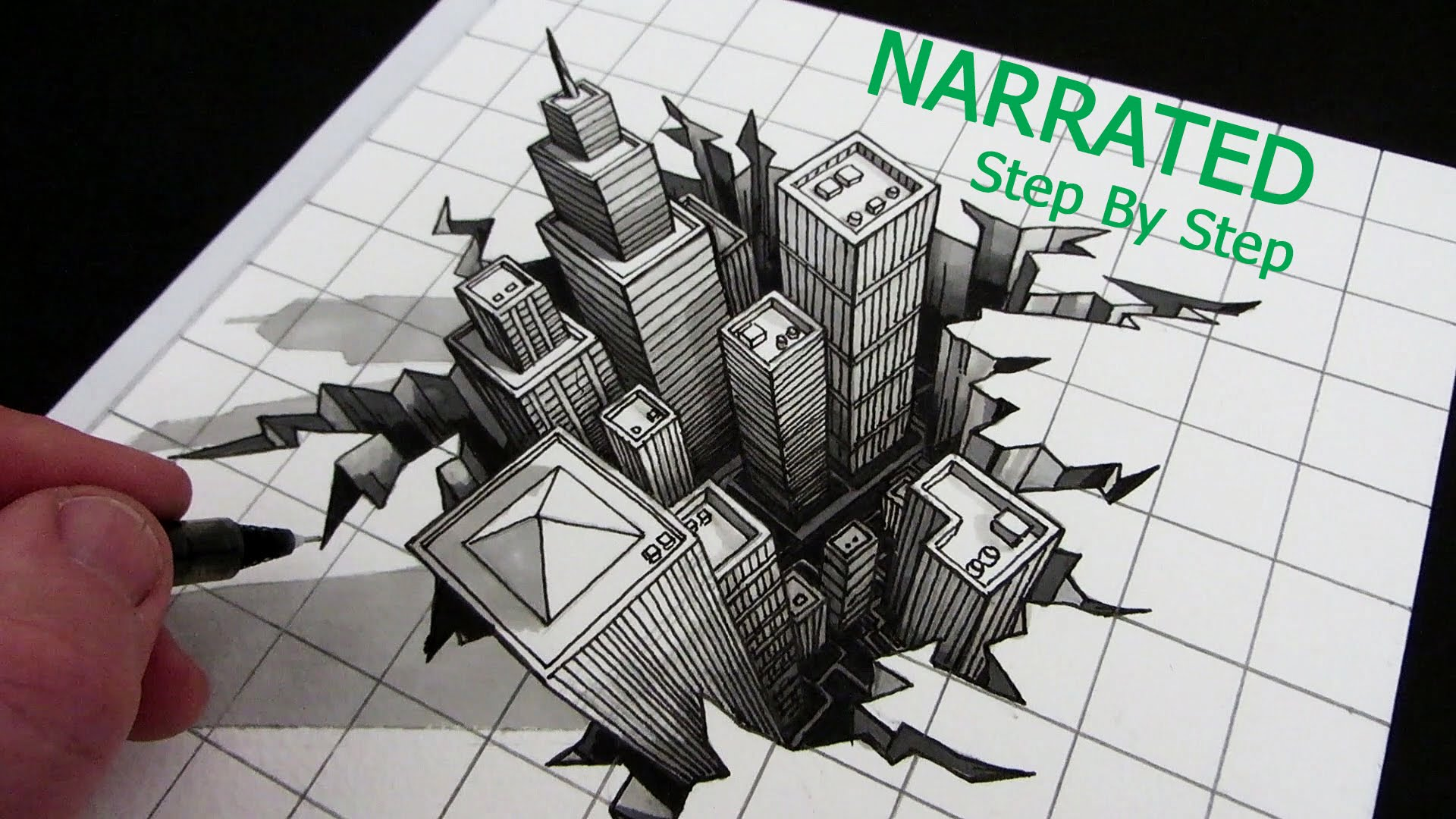 Drawn optical illusion graphic Step 3D Narrated Draw Step