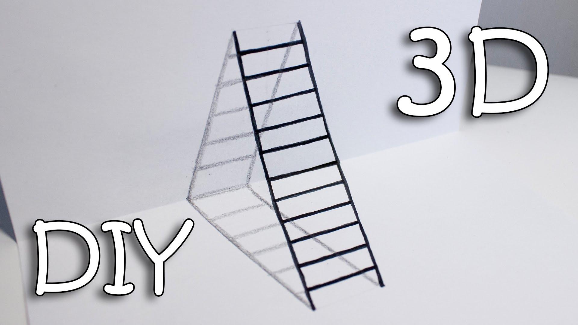 Drawn paper drawing 3d Ladder Ladder Ladder Draw Illusion