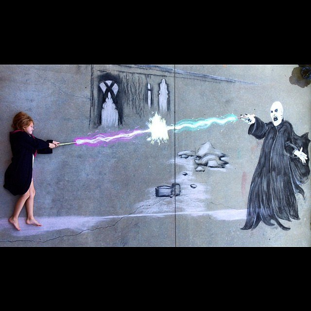 Drawn optical illusion harry potter Harry Chalk potter Potter Drawing