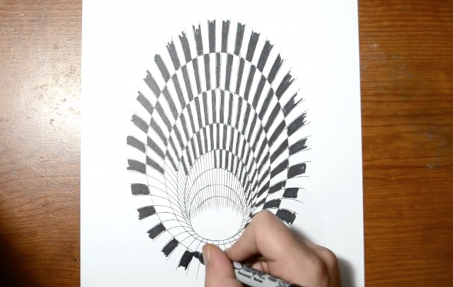Drawn optical illusion hole Is  of The of