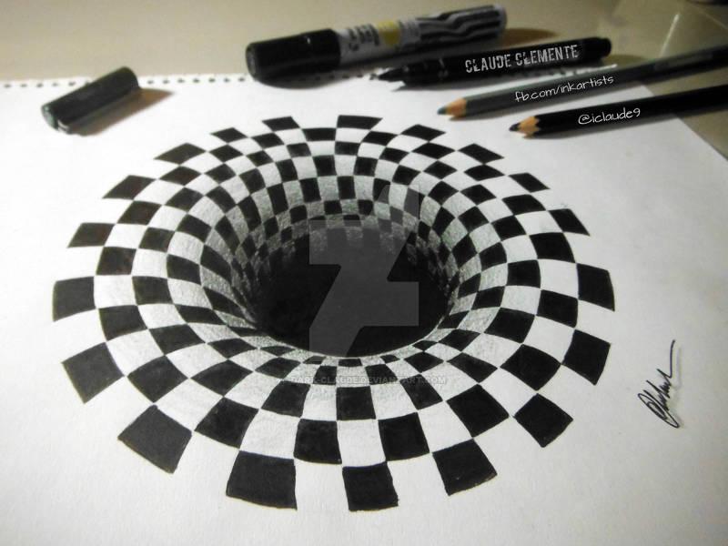 Drawn optical illusion hole Templates & Drawings Premium Free