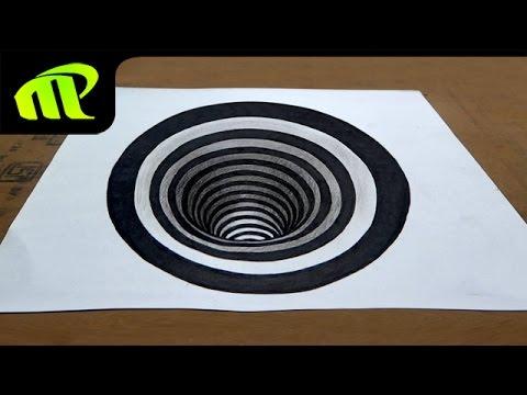 Drawn optical illusion hole Art Illusion Hole Trick Anamorphic