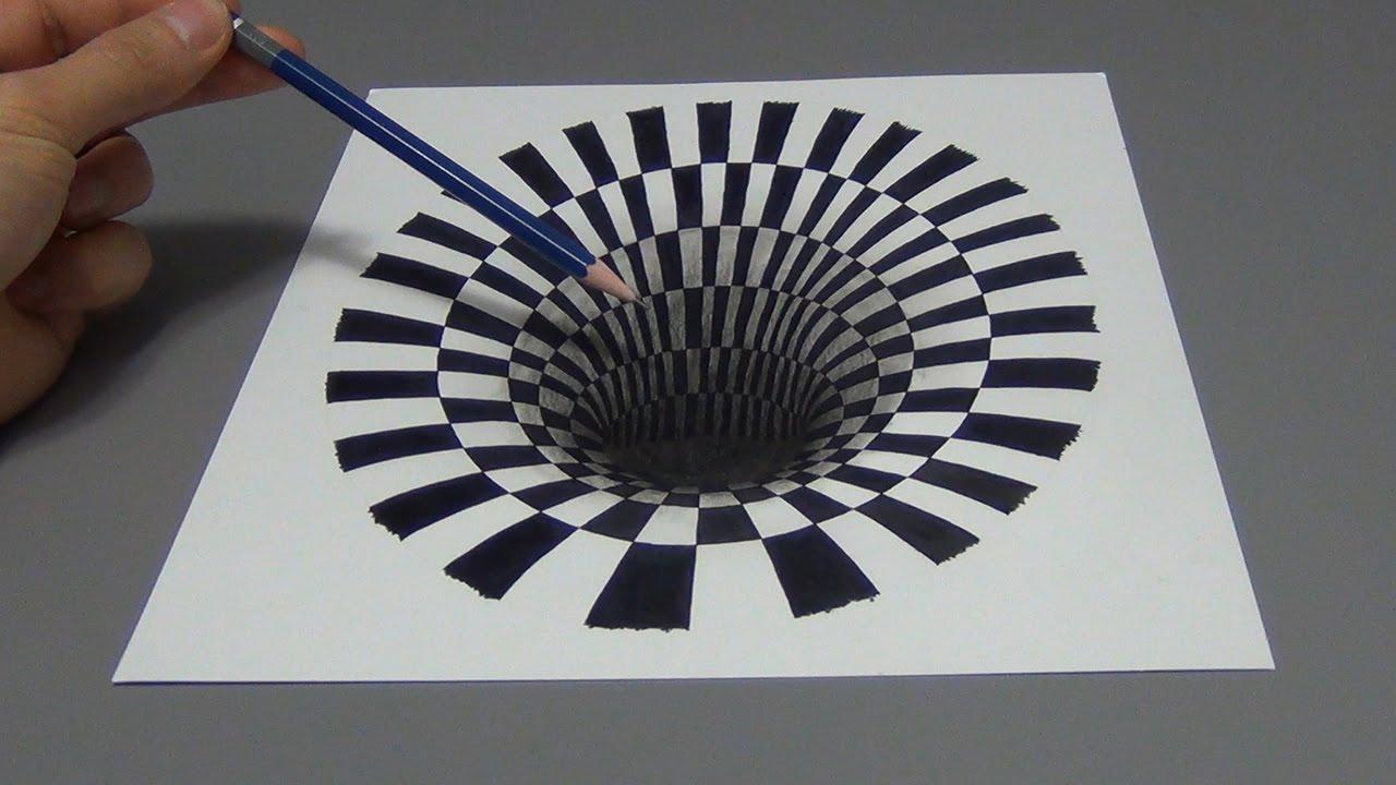 Drawn optical illusion hole Lapse) Illusion Hole (Time Optical